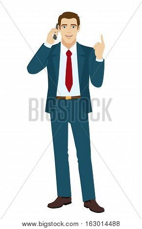 Businessman pointing up. Businessman talking on the phone. Vector illustration.