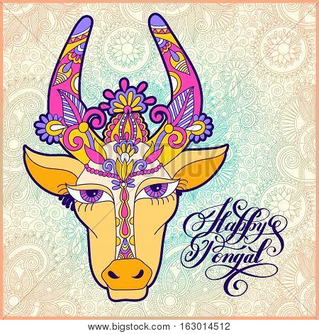 happy pongal handwritten ink lettering inscription on floral paisley pattern with cow to occasion of south Indian harvesting festival holiday design, greeting card, celebration, vector illustration