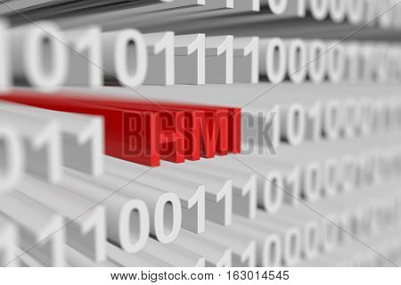 HMI is represented as a binary code with blurred background 3d illustration