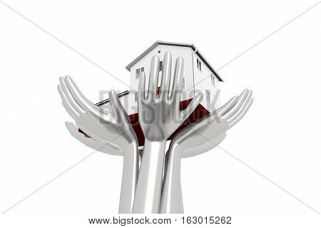 house on the iron hands reliable support 3D illustration