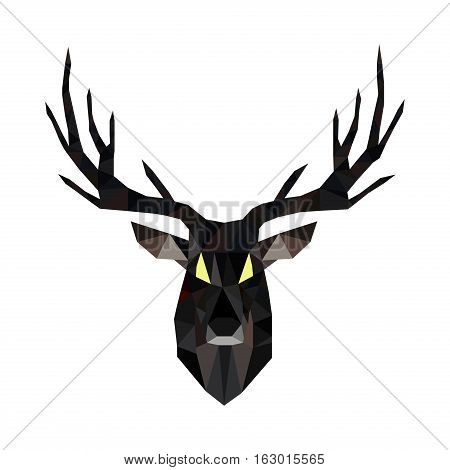 Deer triangle stag low design. Low poly deer hipster christmas antler. Low poly illustration deer. Polygonal reindeer winter creative geometric graphic. Holiday male abstract deer.