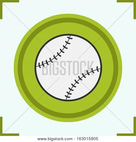 Baseball ball color icon. Softball. Isolated vector illustration