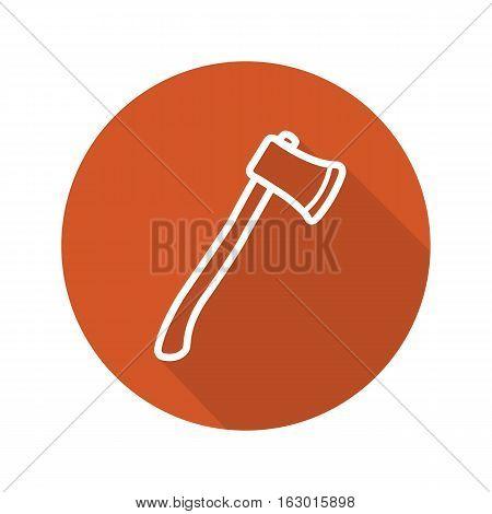 Axe flat linear long shadow icon. Lumberjack ax. Hatchet. Vector line symbol