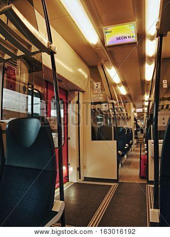 Most Ustecky kraj Czech republic - November 20 2016: interior of passenger train Os 6833 of company Ceske drahy ride to Decin city