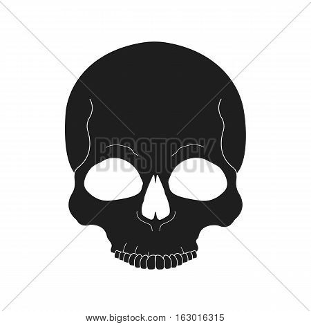 Black human skull color icon. Isolated vector illustration
