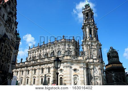 Cathedral of the Holy Trinity previously the Catholic Church of the Royal Court of Saxony called in German Katholische Hofkircheand Royal Castle in Dresden Germany