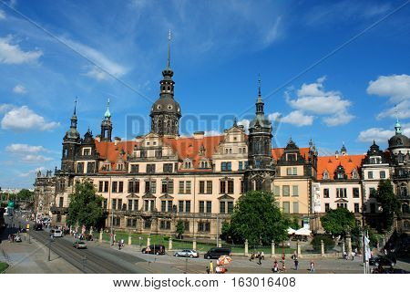 Dresden aug 21. 2016 - Dresden Castle or Royal Palace (Dresdner Residenzschloss or Dresdner Schloss) is one of oldest buildings in Dresden. It has been residence of electors and kings of Saxony. Germany.