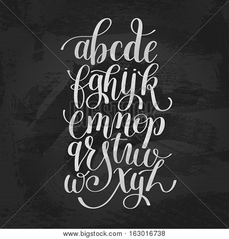 hand lettering alphabet design, handwritten brush script modern calligraphy cursive font vector illustration