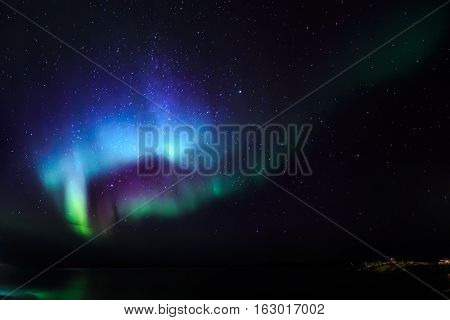 Northern Lights Over The Fjord, View From The Old Harbor, Nuuk City, Greenland