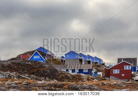 Colorful Cottages Hidden Among The Stones In The Suburb Of Nuuk City, Greenland