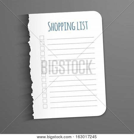 Shopping list. Torn a blank sheet of paper to record the completed tasks. Vector illustration on dark background.