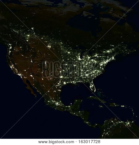 City lights on world map. North America. Elements of this image are furnished by NASA