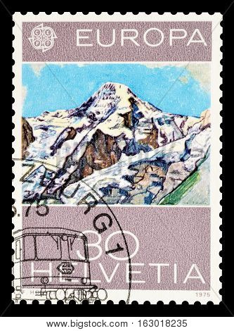 SWITZERLAND - CIRCA 1975 : Cancelled postage stamp printed by Switzerland, that shows Painting by Ferdinand Hodler.