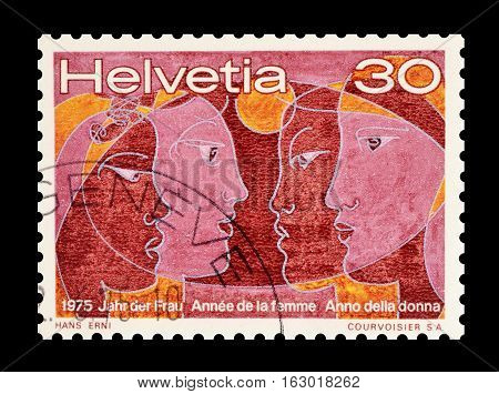 SWITZERLAND - CIRCA 1975 : Cancelled postage stamp printed by Switzerland, that shows Women.