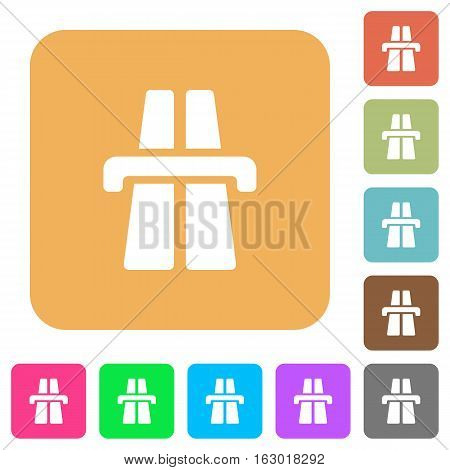 Highway icons on rounded square vivid color backgrounds.