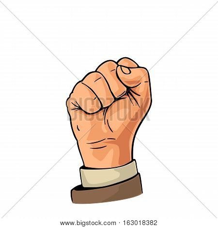 Human hand with a clenched fist. Vector color flat illustration isolated on a white background. Hand sign for web poster info graphic