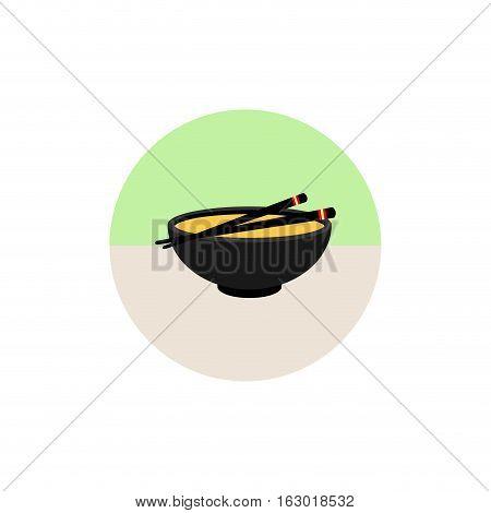 Miso soup icon in flat style isolated on white background. Sushi symbol stock vector illustration. Japanese food. Icon. Flat style