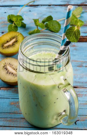 Refreshing Green Smoothie Or Milkshake In Mason Jar