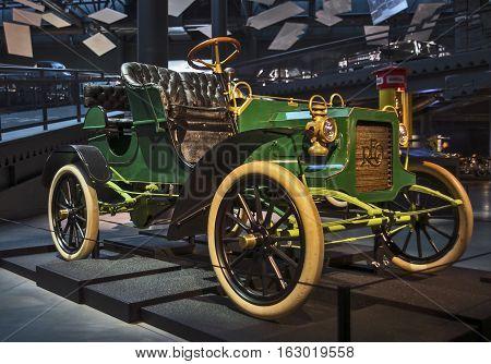 RIGA LATVIA - OCTOBER 16: Retro car 1905 of the year REO Model Release Riga Motor Museum October 16 2016 in Riga Latvia