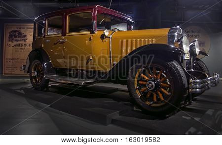 RIGA LATVIA - OCTOBER 16: Retro car 1929 of the year Buick Series 116 Riga Motor Museum October 16 2016 in Riga Latvia