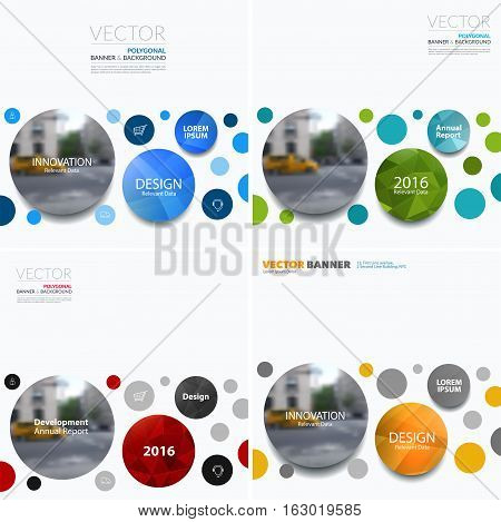 Business vector design elements for graphic layout. Modern abstract background template with points circles dots for IT, technology in clean minimal style with overlay effect. Set
