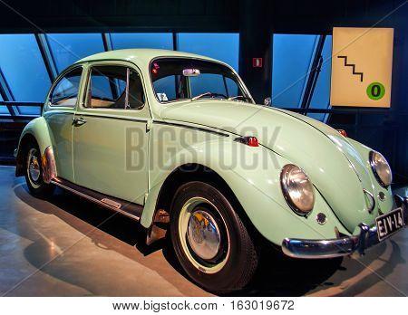 RIGA LATVIA - OCTOBER 16: Retro car of the year 1966 VOLKSWAGEN 1300 Riga Motor Museum October 16 2016 in Riga Latvia