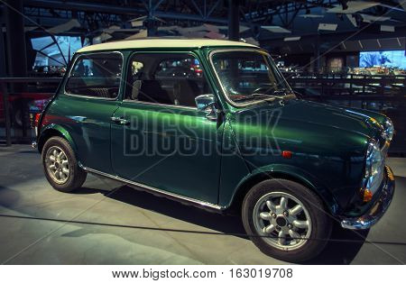 RIGA LATVIA - OCTOBER 16: Retro car of the year 1991 ROVER mini Mk.Vi Riga Motor Museum October 16 2016 in Riga Latvia