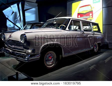 RIGA LATVIA - OCTOBER 16: Retro car of the year 1963 GAZ 22 VOLGA Riga Motor Museum October 16 2016 in Riga Latvia