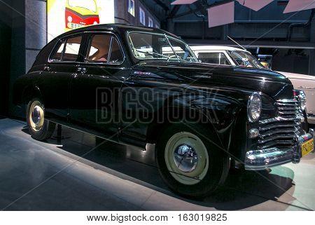 RIGA LATVIA - OCTOBER 16: Retro car of the year 1951 GAZ M20 POBEDA Riga Motor Museum October 16 2016 in Riga Latvia