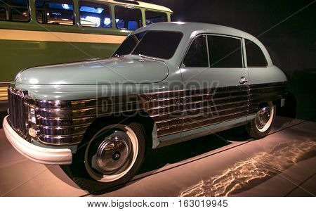 RIGA LATVIA - OCTOBER 16: Retro car of the year 1950 REAF 50 Riga Motor Museum October 16 2016 in Riga Latvia