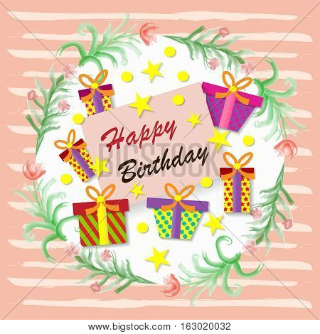 Happy birthday. Greeting card. Gift boxes . Vector illustration.