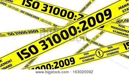 ISO 31000:2009. Yellow warning tapes. Yellow warning tapes with inscription