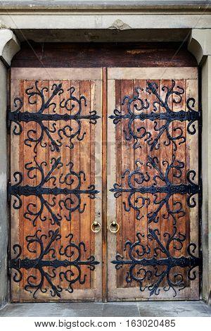 Old wrought-iron gates. Church of St. Olha and Elizabeth, Lviv, Ukraine.