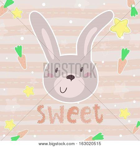 vector card with cute rabbit . vector print.