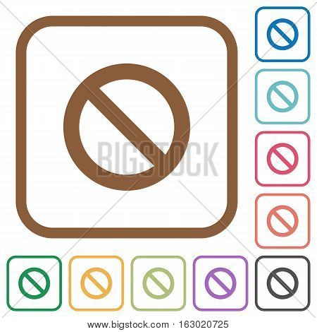 Blocked simple icons in color rounded square frames on white background