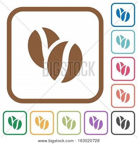 Coffe beans simple icons in color rounded square frames on white background