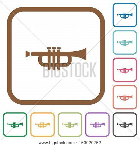 Trumpet simple icons in color rounded square frames on white background
