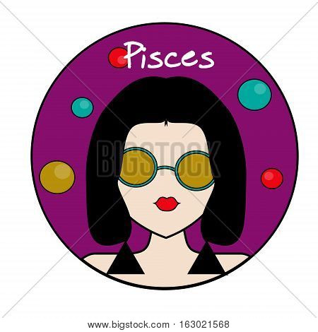 Pisces zodiac sign. Icon with fashionable woman face with trendy hairstyle and circles background