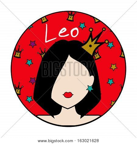 Leo zodiac sign. Icon with fashionable woman face with golden crown. Hand drawn style userpic design element