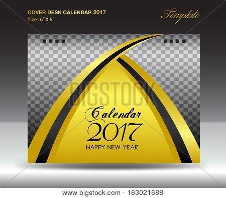 Desk calendar 2017 year Size 6x8 inch horizontal, Gold Cover design, Business brochure flyer template, advertisement
