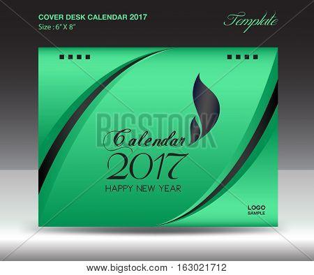 Desk calendar 2017 year Size 6x8 inch horizontal, Green Cover design, Business brochure flyer template, advertisement, book