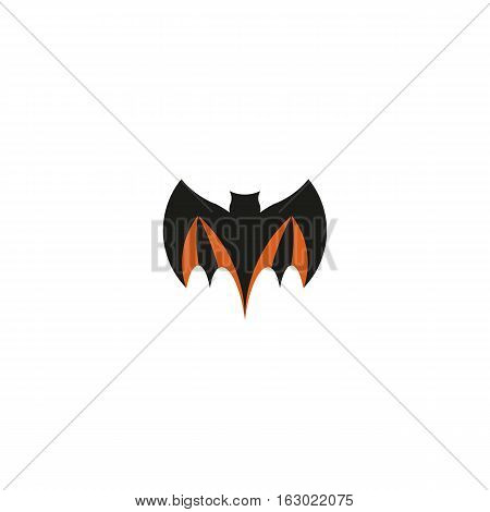 Isolated abstract black color flying bat logo. Halloween element on white background. Night animal logotype. Vampire symbol vector illustration