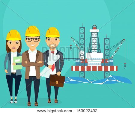 Extraction of energy resources. A gas production platform is stationary. Building. A young team of professionals. Happy people