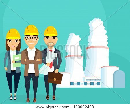 Nuclear energy. Nuclear power plant. Production of electricity. A young team of engineers. Construction and planning. Happy people