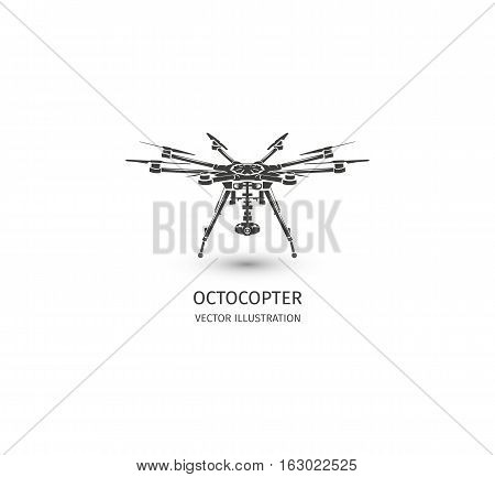 Isolated rc drone logo on white. UAV technology logotype. Unmanned aerial vehicle icon. Remote control device sign. Surveillance vision multirotor. Vector octocopter illustration poster