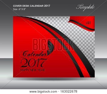 Desk calendar 2017 year Size 6x8 inch horizontal, Red Cover design, Business brochure flyer template, advertisement
