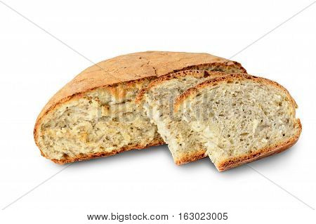 Sliced loaf of homemade bread made with herbs and spices isolated on white. Clipping Path included isolated on white background.