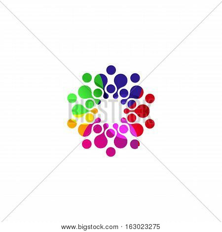 Digital colorful isolated circle logo template. Stylized abstract snowflake, flower or sun vector illustration. Polka dots round sign