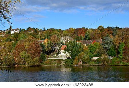Triel sur Seine; France - november 05 2016 : the Seine riverside