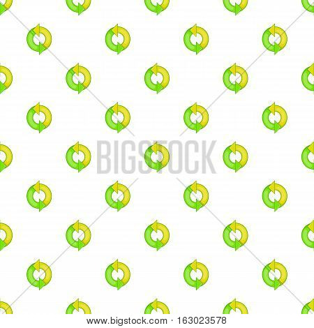 Green refresh arrows pattern. Cartoon illustration of green refresh arrows vector pattern for web